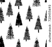 hand drawn christmas trees... | Shutterstock .eps vector #725455693