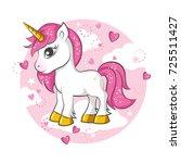 cute magical unicorn. vector... | Shutterstock .eps vector #725511427