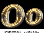 yellow neon sign chrome font.... | Shutterstock . vector #725515267