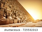 fiery sunset and pyramid of... | Shutterstock . vector #725532313