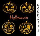 set of wax crayon hand drawn... | Shutterstock .eps vector #725536453