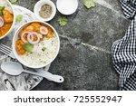 homemade dinner butter chicken... | Shutterstock . vector #725552947