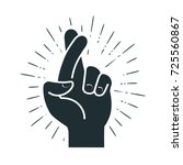 fingers crossed  hand gesture.... | Shutterstock .eps vector #725560867