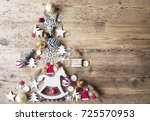 christmas flat lay with... | Shutterstock . vector #725570953