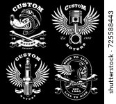 motorcycle vector set with ... | Shutterstock .eps vector #725588443