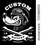 badge with cartoon wolf biker... | Shutterstock .eps vector #725588503