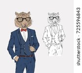 tiger dressed up in classy... | Shutterstock .eps vector #725596843