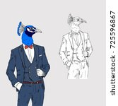 peacock dressed up in classy... | Shutterstock .eps vector #725596867
