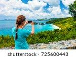 back view of tourist girl... | Shutterstock . vector #725600443