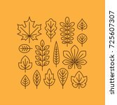 autumn leaves line icons set... | Shutterstock .eps vector #725607307