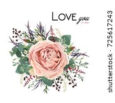 vector floral watercolor style... | Shutterstock .eps vector #725617243