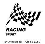 racing sport. logo. checkered... | Shutterstock .eps vector #725631157