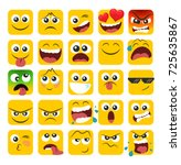 set of square emoticons with... | Shutterstock .eps vector #725635867