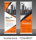 orange roll up banner stand... | Shutterstock .eps vector #725638027