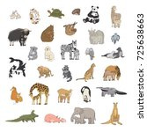 animals with babies cartoon... | Shutterstock . vector #725638663