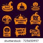 set of stylized halloween logos ... | Shutterstock .eps vector #725650957