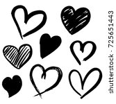set of eight hand drawn heart.... | Shutterstock .eps vector #725651443