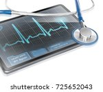 tablet displaying ecg | Shutterstock . vector #725652043