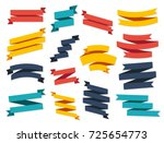 ribbon vector icon set on white ... | Shutterstock .eps vector #725654773