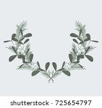 christmas wreath with branches... | Shutterstock .eps vector #725654797