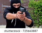 Mask Thief In Balaclava With...