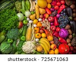 fruits and vegetables large... | Shutterstock . vector #725671063