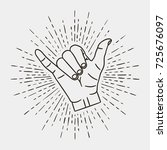 shaka   surfing hand gesture... | Shutterstock .eps vector #725676097