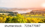 autumn landscape at lipno water ... | Shutterstock . vector #725677087