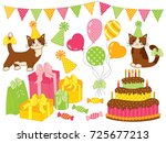 vector set with birthday party... | Shutterstock .eps vector #725677213