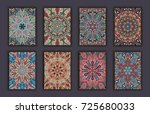 collection retro cards. ethnic... | Shutterstock .eps vector #725680033