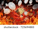 different cryptocurrency coins... | Shutterstock . vector #725694883