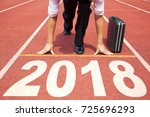 businessman ready to run and... | Shutterstock . vector #725696293