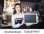young asian women barista... | Shutterstock . vector #725697997