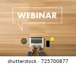 webinar hand on table use e...   Shutterstock . vector #725700877
