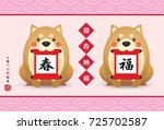 2018 year of dog greeting card... | Shutterstock .eps vector #725702587