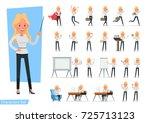 set of businesswoman character... | Shutterstock .eps vector #725713123