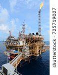the offshore oil rig in the...   Shutterstock . vector #725719027
