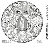 owl. mandala with owl. design... | Shutterstock . vector #725719273
