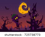 spooky old haunted house with... | Shutterstock .eps vector #725738773