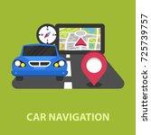 car navigation flat concept.... | Shutterstock .eps vector #725739757