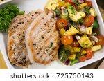 pork steak meat on dish  home...   Shutterstock . vector #725750143