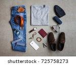 men's winter clothing style... | Shutterstock . vector #725758273