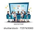 brainstorming teamwork with... | Shutterstock .eps vector #725765083