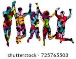 butterflies patterned people...   Shutterstock .eps vector #725765503