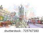 watercolor sketch of big ben... | Shutterstock .eps vector #725767183