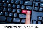 a finger press a button with... | Shutterstock . vector #725774233