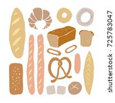 different kinds of bread in... | Shutterstock .eps vector #725783047