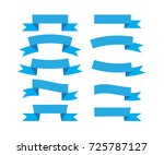 set of blue ribbons isolated on ... | Shutterstock .eps vector #725787127