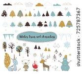 vector set of winter elements.... | Shutterstock .eps vector #725787367