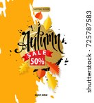 autumn sale flyer template.... | Shutterstock .eps vector #725787583